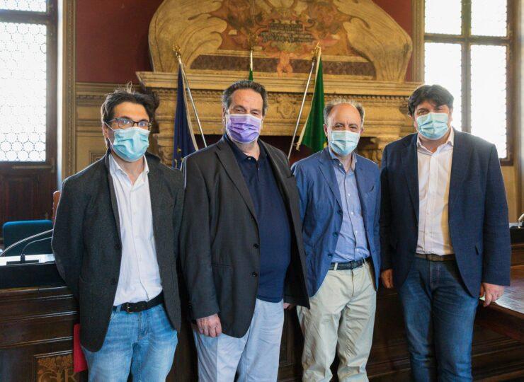 Comune di Rovereto, 31 maggio ore 15.00. Conferenza stampa di presentazione dei Rosmini Days. Nella foto da destra, Francesco Valduga, Flavio Deflorian, Marco Finola, Carlo Brentari.